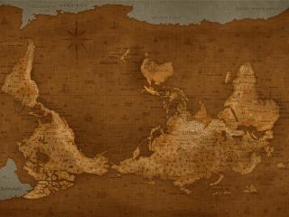 обои Перевёрнутая карта мира на пожелтевшем гобелене фото