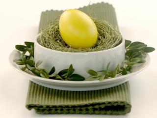 обои Яйцо в окружении соломы, листиков и белой тарелки фото