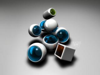 обои Концептуальное искусство - трёхмерные формы с цветными стёклами фото
