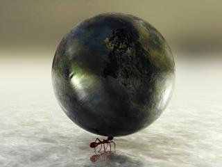 обои Земля держится на кончике усов муравьишки фото