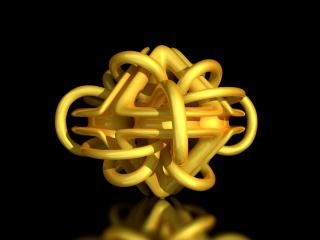 обои Головоломка из жёлтых трубочек на чёрном фоне фото