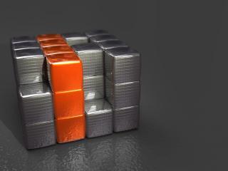обои Серая кубика-рубика с рыжей трёшкой фото