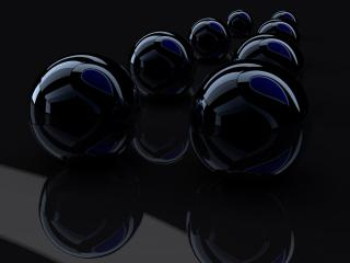 обои Ровные ряды чёрных, бильярдных шаров фото