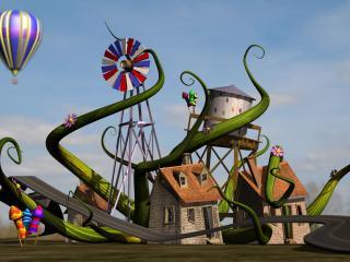 обои Трёхмерный домик чудаковатого садовника фото