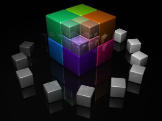 обои Хоровод кубиков вокруг рубика фото