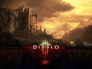 обои Мрачные громады скал и замок из Diablo фото