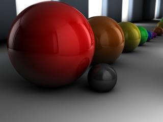 обои Диаграмма размеров из цветных шариков фото