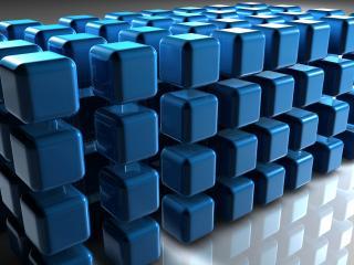 обои Конструкция из синих, трёхмерных квадратиков фото