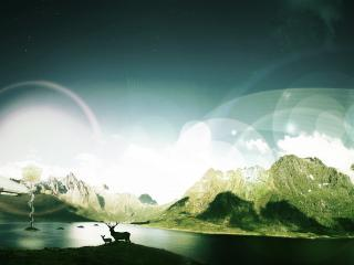 обои Аэростат летит на озёром к горам фото