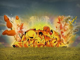 обои Огненное граффити и огромные тюльпаны фото