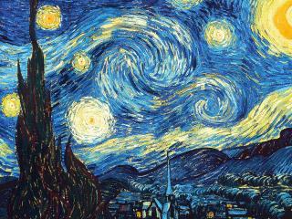 обои Шедевр Ван Гога - деревья выше звёзд фото