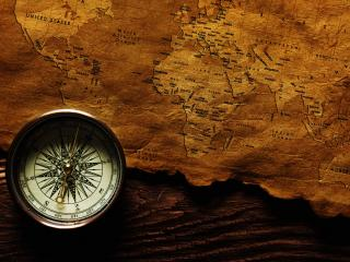 обои Старая карта и компас фото