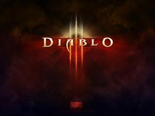 обои Огненные буквы Diablo в тумане фото