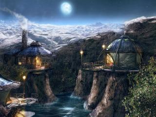 обои Сказочный рисунок с необычными домиками фото