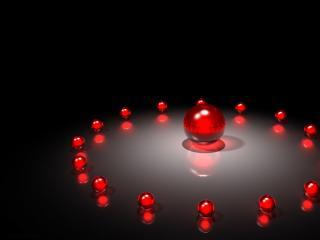 обои Красный шар в окружении свиты фото