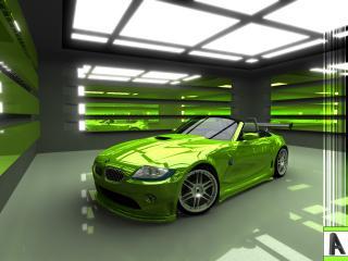 """обои Салатовое """"BMW"""" в зелёном декоре гаража фото"""