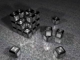 обои Домик, собранный из маленьких серых, кубиков фото