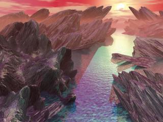 обои Ультрафиолетовая река среди коричневых скал луны фото