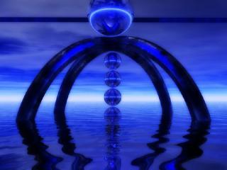 обои для рабочего стола: Храм на воде из шаров и дуг