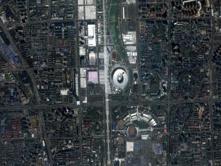 обои Промышленный город - вид со спутника фото