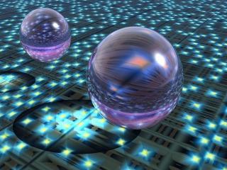 обои Сверкающие шары на диско-поле фото