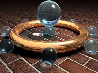 обои Кольцо со сферами с шаром в центре фото