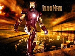 обои Грозный герой Iron Man над городом фото