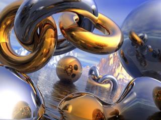 обои Трёхмерные, золотые колоьца в пространстве фото