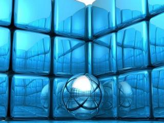 обои Одинокий, серебрянный шарик в кубической комнате фото
