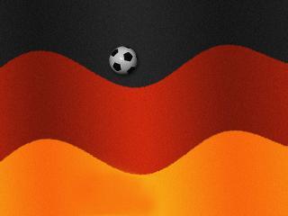 обои Футбольный мячик скачет по волнам немецкого флага фото