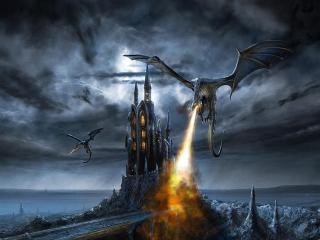 обои Фантастические драконы опустошают земли огнём фото
