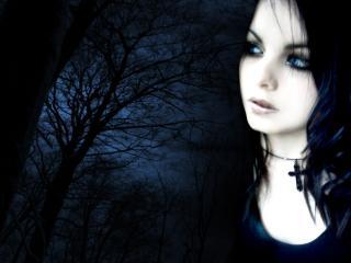 обои Лунная жрица - готическая, чёрная девица фото