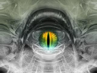 обои Большое, злое, зелёное око дракона фото