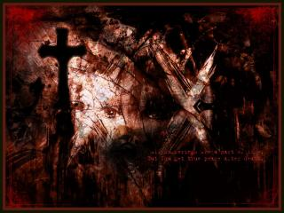 обои Кровавое небо над чёрным, старым кладбищем фото