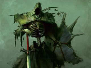 обои Тёмный рыцарь-скелет в грязном плаще фото