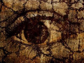 обои Большой глаз старинной, потрескавшейся картины фото
