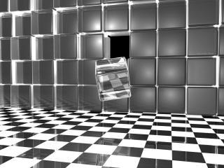 обои Кубик стеклянный выпал из стены фото