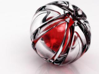 обои Хромированный шарик с красными вставками фото