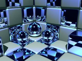 обои Красивые шарики в шашечной комнате фото