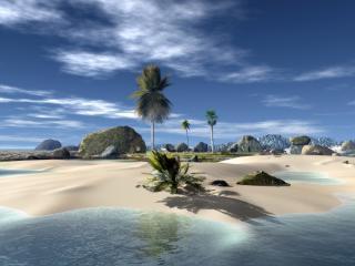 обои Трёхмерный островок в прозрачных водах фото