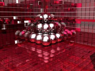обои Шары в красном кубе фото