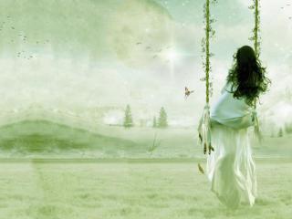 обои Девушка в белом платье на качелях фото