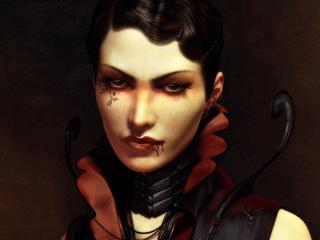 обои Женщина- вамп с татуировкой на лице фото