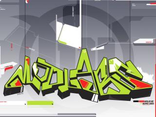 обои Зелёные граффити в абстракции фото