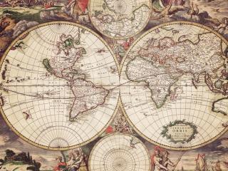 обои World Map with engravings фото