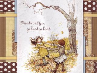 обои для рабочего стола: Открытка: девочки кружатся в осеннем лесу