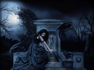 обои Готичная девушка на кладбище фото