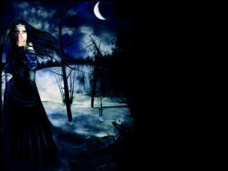 обои Девушка в тёмном лесу фото