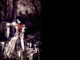 обои Девушка играет на скрипке на кладбище фото