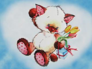 обои Рисованый котик с подарком на обложке сердечком фото